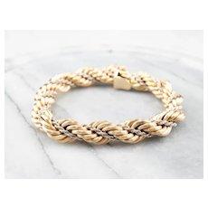Bold Two Tone 18 Karat Gold Twist Chain Bracelet