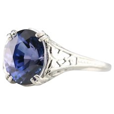 Ivy Filigree Sapphire Solitaire Ring
