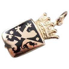 Black Enamel Lion Coat of Arms Heraldry Charm