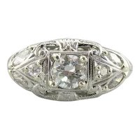 Pretty Art Deco Transition Cut Diamond Filigree Cocktail Ring