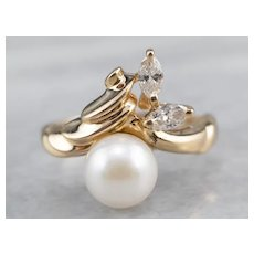 Vintage Cultured Pearl and Marquise Diamond Ring
