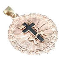 Vintage Black Enamel Cross Pendant