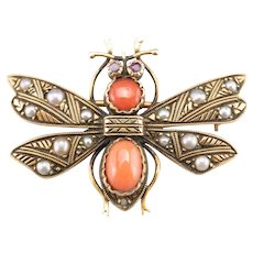 Vintage Coral Ruby and Seed Pearl Dragonfly Pin