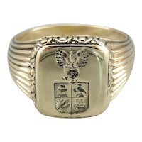 Vintage Coat Of Arms Men's Signet Ring, True Wax Stamping Style