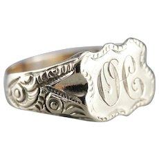 "Victorian ""H"" Monogramed Signet Ring"