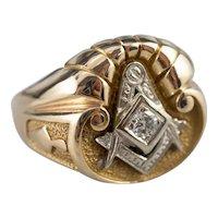 Vintage Diamond Masonic Men's Ring