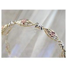 Vintage Retro Era Mixed Metal Floral Link Bracelet