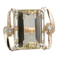 Gorgeous Yellow Scapolite Cocktail Ring, Luxurious 18 Karat Gold Mounting, Bold Statement Ring