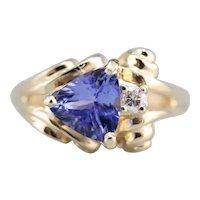 Trillion Cut Tanzanite and Diamond Ring