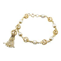 Cultured Pearl Filigree Tassel Bracelet