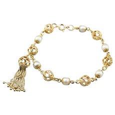 Cultured Pearl Filigree Tassel Bracelet