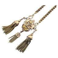 Exquisite, Ornate Victorian 10K Gold Necklace with Seed Pearls and Tassels