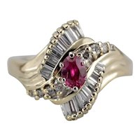 Fantastic Ruby Cocktail Ring with Sweeping Lines in Bright 14K Gold
