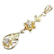 Old Mine Cut Diamond Art Nouveau Lavalier Pendant
