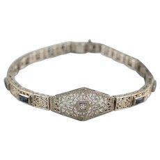 Art Deco Diamond Synthetic Sapphire Filigree Bracelet