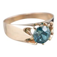 Belcher Set Blue Zircon Ring