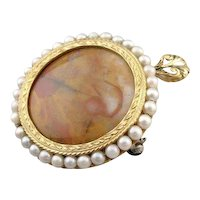 One of a Kind Jasper and Cultured Pearl Pendant or Brooch