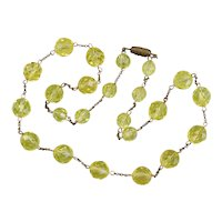 Vintage Yellow Glass Beaded Necklace