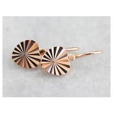 Vintage Rose 14 Karat Gold Heart Drop Earrings