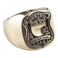 Boston Police Detective Men's Signet Ring