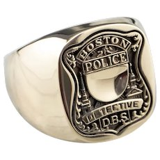 Boston Police Detective Men's Signet Ring