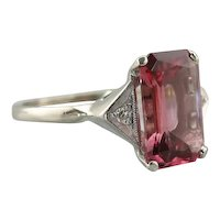 Hollywood Style Pink Tourmaline Cocktail Ring With Diamond Accents