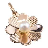 Cultured Pearl Four Leaf Clover Charm Pendant