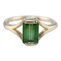 Pretty Green Tourmaline Solitaire Ring