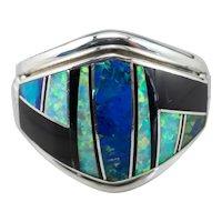 Native American Opal Azurite Black Onyx Intarsia Statement Ring