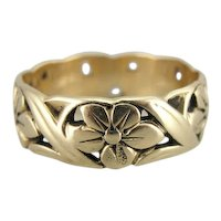 Vintage Art Carved Filigree Flower Band