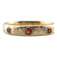 Beautifully Etched Floral Bangle Bracelet Set with Spessartite Garnets