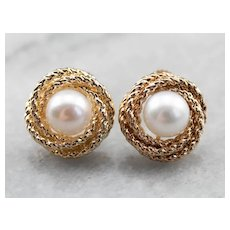 Vintage Cultured Pearl Stud Earrings