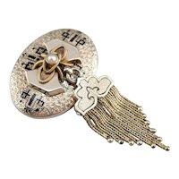 Victorian Cultured Pearl Tassel Brooch