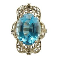 Fantastic Blue Topaz Filigree Cocktail Ring