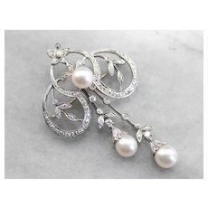 Retro Diamond and Cultured Pearl Brooch or Pendant