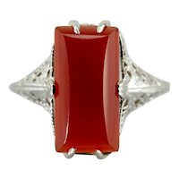 Carnelian Cabochon 1920's Art Deco Cocktail Ring