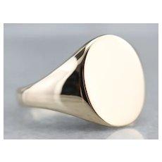 Vintage Unisex 10 Karat Gold Signet Ring