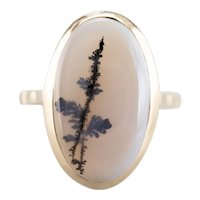Dendritic Agate 18 Karat Gold Ring