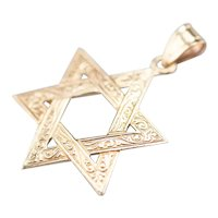 Beautifully Engraved Star of David Pendant