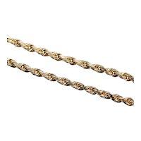 Polished Yellow 14 Karat Gold Rope Twist Chain