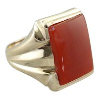 Blood Orange Carnelian, Statement Men's or Ladies Cocktail Ring