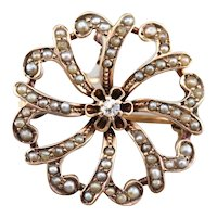 Victorian Diamond and Seed Pearl Pin or Pendant