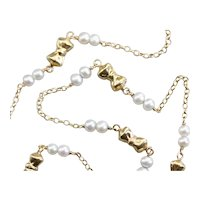 Vintage Bow Link and Beaded Cultured Pearl Necklace