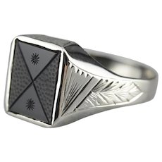 Art Deco Carved Onyx Men's Ring