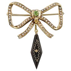 Victorian Bow Brooch with Seed Pearls, Demantoid Garnet and Jet Tassel Pin, Antique Bow Jewelry