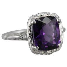 Upcycled 1920's Amethyst Filigree Ring