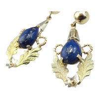 Ornate Floral Lapis Lazuli Drop Earrings