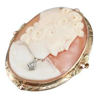 Vintage Diamond Cameo Brooch or Pendant