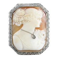 Art Deco Diamond Cameo Brooch