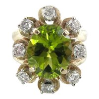 Bold & Bright: Luxurious Peridot Cocktail Ring with Diamond Halo